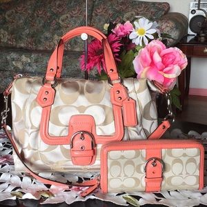 Coach Campbell Signature Medium Satchel  & Wallet